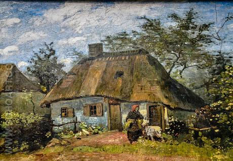Cottage and Woman with Goat - Vincent van Gogh reproduction oil painting