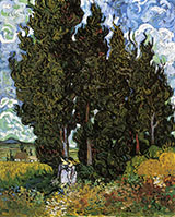 Cypresses and Two Women February 1890 - Vincent van Gogh reproduction oil painting