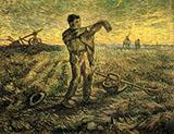 Evening The End of the Day After Millet November 1889 - Vincent van Gogh