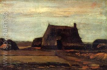 Farmhouse with Peat Stacks - Vincent van Gogh reproduction oil painting