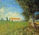 Farmhouses in A Wheat Field - Vincent van Gogh