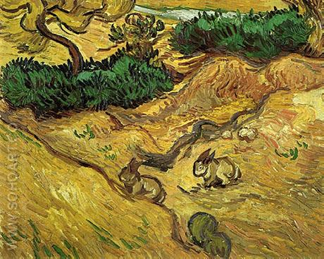 Field with Two Rabbits December 1889 - Vincent van Gogh reproduction oil painting