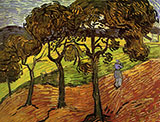 Landscape with Trees and Figures November 1889 - Vincent van Gogh reproduction oil painting