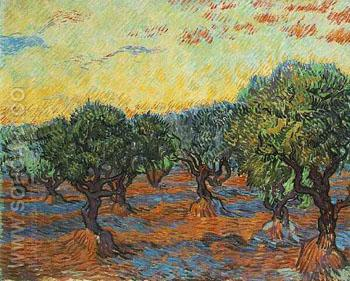 Olive Grove Orange Sky November 1889 - Vincent van Gogh reproduction oil painting