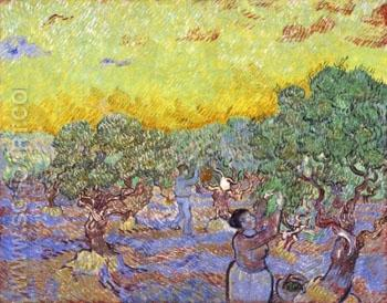 Olive Grove with Two Olive Pickers December 1889 - Vincent van Gogh reproduction oil painting