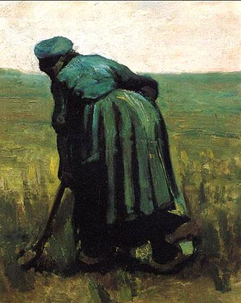 Peasant Woman Digging - Vincent van Gogh reproduction oil painting