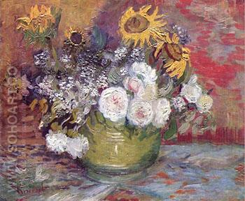 Still Life with Roses and Sunflowers - Vincent van Gogh reproduction oil painting
