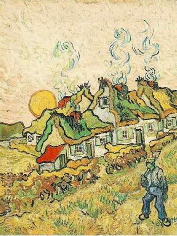 Thatched Cottages in the Sunshine Reminiscence of the North February 1890 - Vincent van Gogh reproduction oil painting