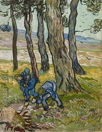The Diggers Les Becheurs 1889 - Vincent van Gogh reproduction oil painting