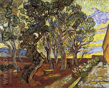 The Garden of Saint Pauls Hospital 1889 - Vincent van Gogh reproduction oil painting