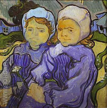 Two Little Girls - Vincent van Gogh reproduction oil painting