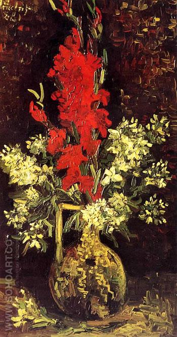 Vase with Gladioli and Carnations - Vincent van Gogh reproduction oil painting