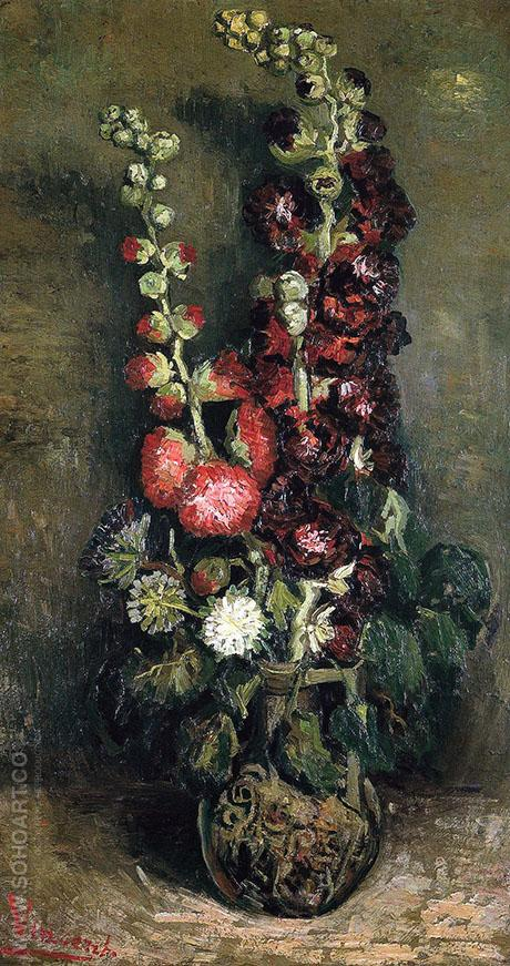 Vase with Hollyhocks - Vincent van Gogh reproduction oil painting