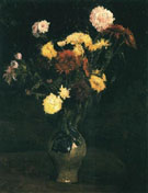 Vase with Carnations and Zinnias - Vincent van Gogh reproduction oil painting