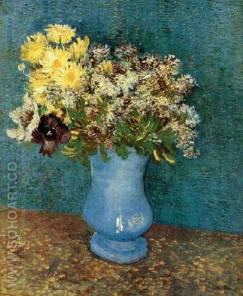 Vase with Lilacs Daisies and Anemones - Vincent van Gogh reproduction oil painting