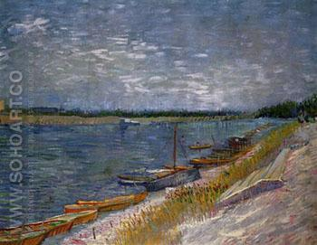 View of a River with Rowing Boats - Vincent van Gogh reproduction oil painting