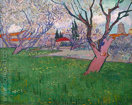 View of Arles with Trees in Blossom - Vincent van Gogh reproduction oil painting