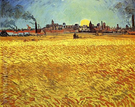 Wheat Field at Sunset 1889 - Vincent van Gogh reproduction oil painting