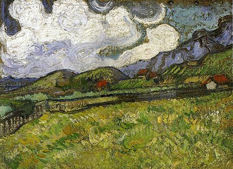 Wheat Field Behind Saint Paul Hospital 1889 - Vincent van Gogh reproduction oil painting