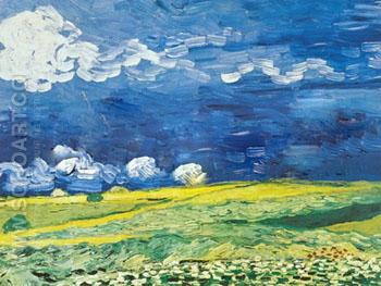 Wheat Field under A Cloudy Sky - Vincent van Gogh reproduction oil painting