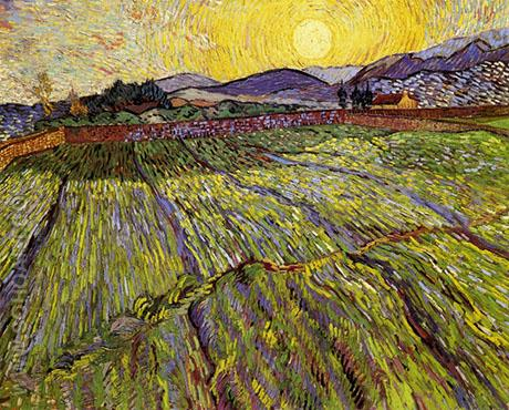 Wheat Field with Rising Sun - Vincent van Gogh reproduction oil painting