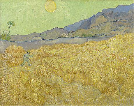 Wheat Fields with Reaper at Sunrise - Vincent van Gogh reproduction oil painting