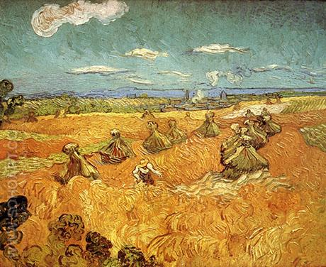 Wheat Stacks with Reaper - Vincent van Gogh reproduction oil painting