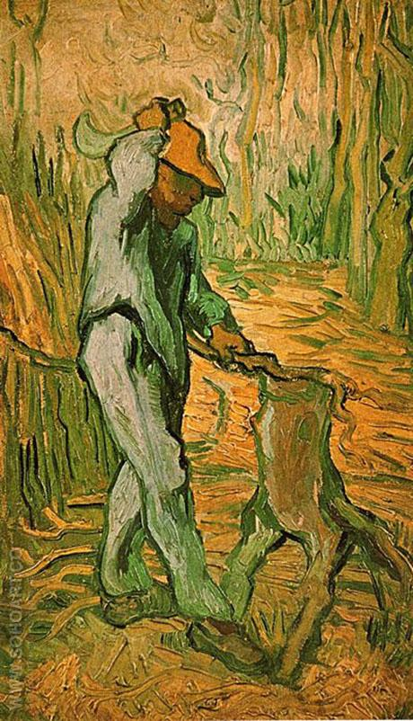 Woodcutter After Millet The February 1890 - Vincent van Gogh reproduction oil painting