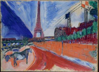 Le Pont de Passy et la Tour Eiffel 1911 - Marc Chagall reproduction oil painting