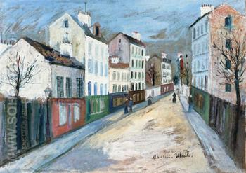 A Street in a Suburb of Paris 1912 - Maurice Utrillo reproduction oil painting