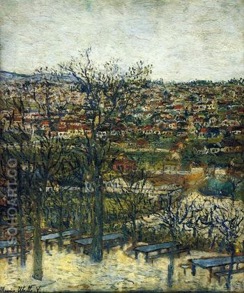 Benches at Montmagny 1906 - Maurice Utrillo reproduction oil painting