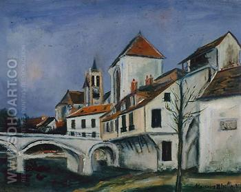 Bridge and Church - Maurice Utrillo reproduction oil painting