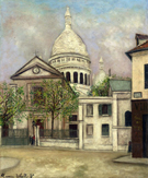 Eglise Saint Pierre and The Coupola of Sacere Coeur 1911 - Maurice Utrillo