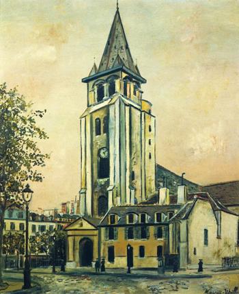 St Germain Des Pres Paris 1917 - Maurice Utrillo reproduction oil painting
