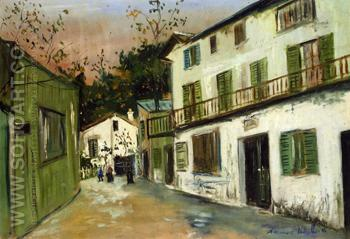 The Maison Des Italiens in Montmartre 1917 - Maurice Utrillo reproduction oil painting