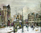 The Place Des Abbesses in the Snow 1917 - Maurice Utrillo reproduction oil painting