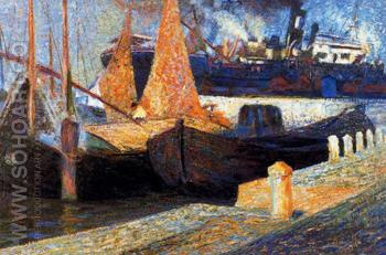 Boats In Sunlight - Umberto Boccioni reproduction oil painting
