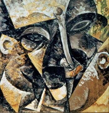 Dynamism of a Mans Head 1911 - Umberto Boccioni reproduction oil painting