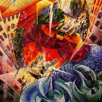 Visioni Simultanee c1911 - Umberto Boccioni reproduction oil painting