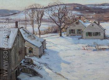 Farmhouse in the Snow 1920 - George Gardner Symons reproduction oil painting