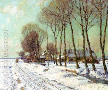 Snow Clad Fields in Morning Light 1910 - George Gardner Symons reproduction oil painting