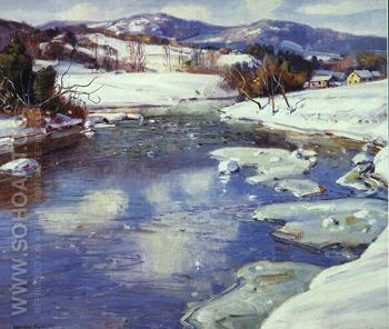 Valley Stream in Winter - George Gardner Symons reproduction oil painting