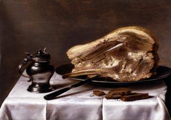 Stilleben Med Kogt Koed 1635 - Pieter Claesz reproduction oil painting