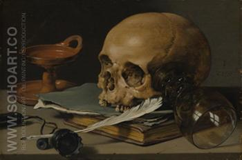 Still Life with a Skull and Writing Quill 1628 - Pieter Claesz reproduction oil painting