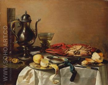 Still Life with Lobster and Crab 1643 - Pieter Claesz reproduction oil painting