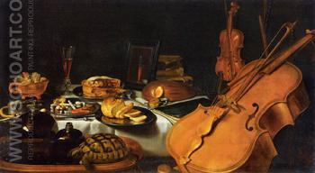 Still Life with Musical Instruments 1623 - Pieter Claesz reproduction oil painting