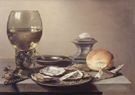 Still Life with Roemer and Oysters 1642 - Pieter Claesz reproduction oil painting
