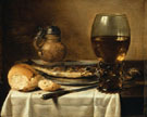 Still Life with Stoneware Jus Wine Glass Herring and Bread 1642 - Pieter Claesz reproduction oil painting