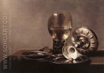 Still Life with Wine Glass and Silver Bowl - Pieter Claesz reproduction oil painting