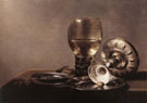 Still Life with Wine Glass and Silver Bowl - Pieter Claesz